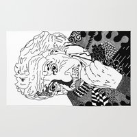physics Area & Throw Rugs featuring Albert Einstein - black and white by Rebecca Bear