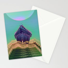 Surfing The Big Wave Searching Mermaids Stationery Cards