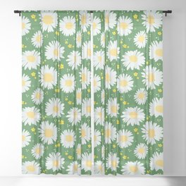 Spring Dream Daisies Sheer Curtain