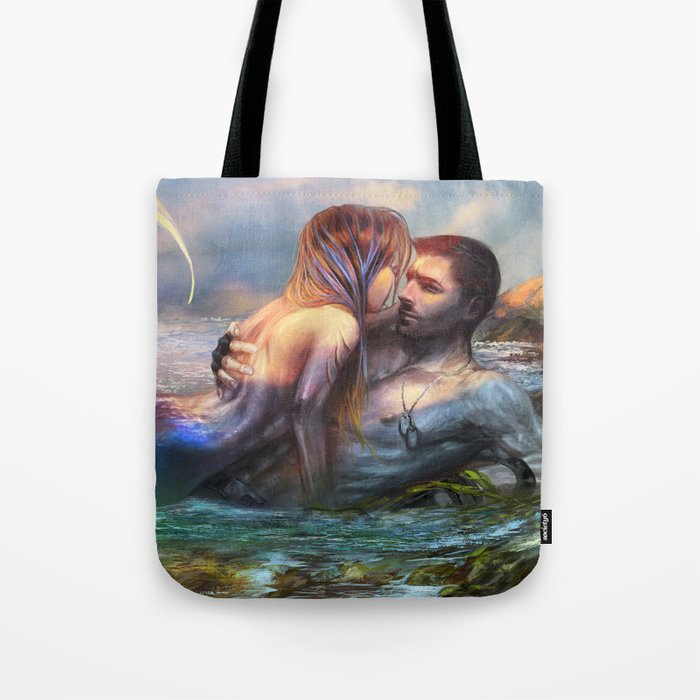 Take my breath away - Mermaid in love with soldier on the beach Tote Bag