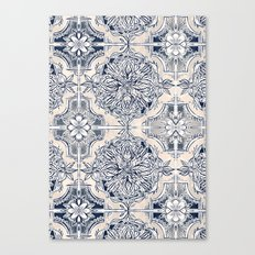 Brush and Ink Watercolor Pattern in Indigo and Cream Canvas Print