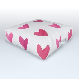 Watercolor Hearts - Pink, Red and Gold Outdoor Floor Cushion