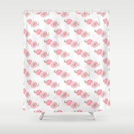 Pink Watercolor Ranunculus print w/grunge Shower Curtain