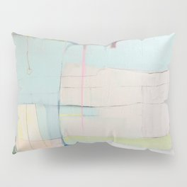 """over flow"" abstract painting in robin's egg, mint, blush, white, and yellow Pillow Sham"