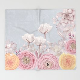 Floral Spring Greatings - Pastel Flowers Throw Blanket