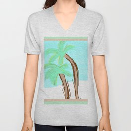 Palm Trees Awaiting a Storm #4 Unisex V-Neck