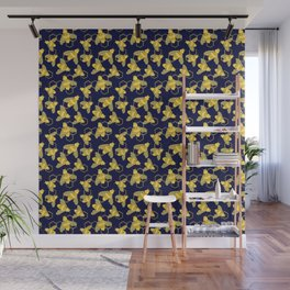 Golden Bees with Floral details on the wings and HoneyComb background Wall Mural