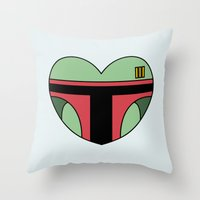 Boba Fett Character Heart Throw Pillow