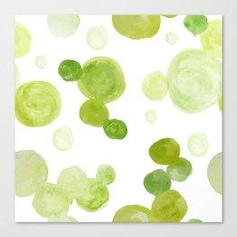 Abstract Green Watrcolor Circes Canvas Print
