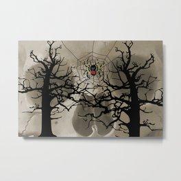 halloween Spider in web between trees Metal Print