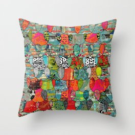 Color Riot Abstract Art Collage Throw Pillow