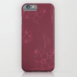 Elegant Line Art Floral in Rose iPhone Case