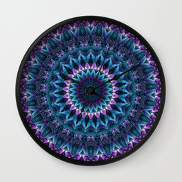 Luscious Purple and Blue Kaleidoscope Wall Clock