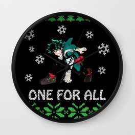 My Hero Academia Ugly Christmas Wall Clock