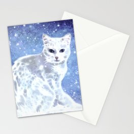 Abstract white cat Stationery Cards