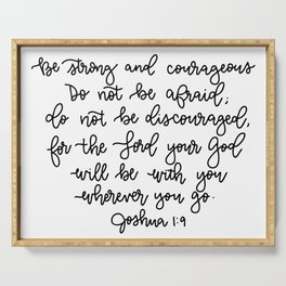 Be Strong And Courageous Verse Serving Tray