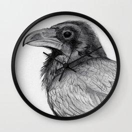 Sketchy Raven Study Wall Clock