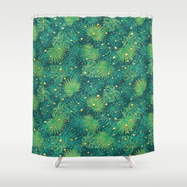 Tropical Gold Dots Shower Curtain