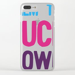 Calm The Fuck Down Offensive Vulgar Phrase Pink Blue Purple design Clear iPhone Case