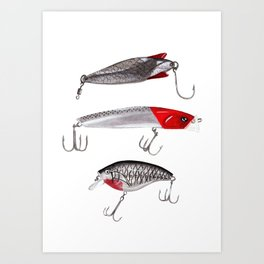 Red and Silver Fishing Lures Art Print