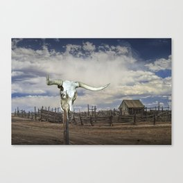 Steer Skull and Western Fenced Corral Canvas Print