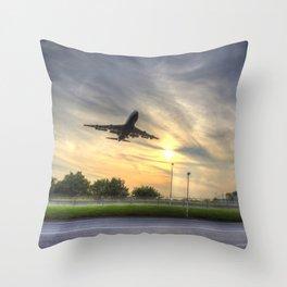 Boeing 747 Sunset Landing Throw Pillow