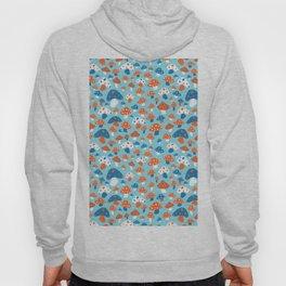 Ditsy Mushrooms in Mod Blue Hoody