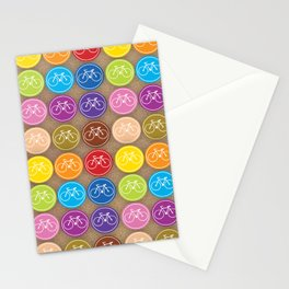 Multicolored Bicycles Icons Stationery Cards