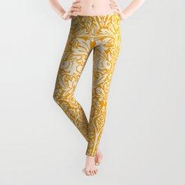 Birds and Rabbits in Marigold Sunshine Golden Yellow (William Morris 1882 Antique Vintage Pattern) Leggings