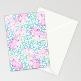 Lipstick Pink Roses and Butterflies Stationery Cards