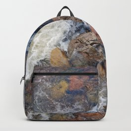 River rocks and rushing water Backpack