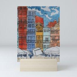 Porto - Praça da Ribeira square in watercolor and ink Mini Art Print