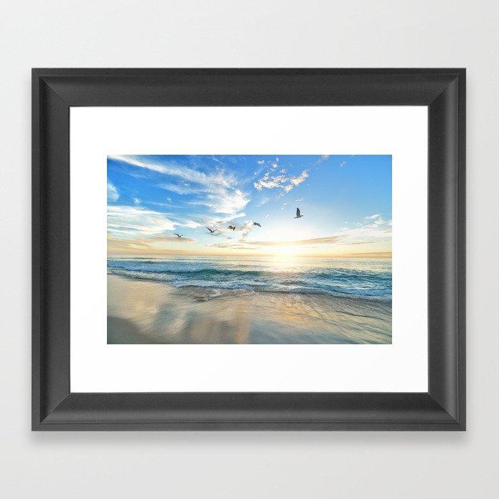 Ocean Beach Waves Sunset Photo Gerahmter Kunstdruck