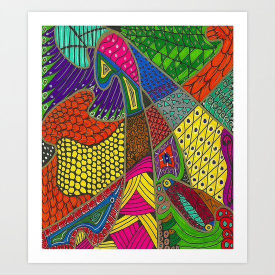Feathers of a Different Color Art Print