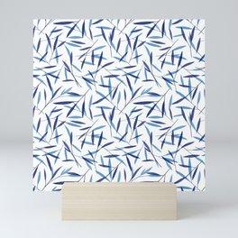 Blue Bamboo Leaves Mini Art Print