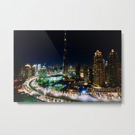 Dubai By Night Metal Print