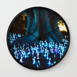 Fantasy forest with magic mushrooms Wall Clock