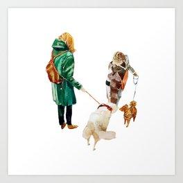 Walk with a dog Art Print