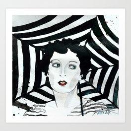 Stripy Umbrella Art Print