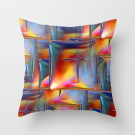 Mirrored Metallic Tile Fire Colors Throw Pillow