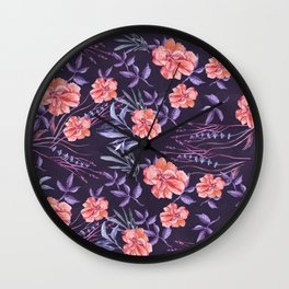 Modern hand painted violet pink coral watercolor floral Wall Clock