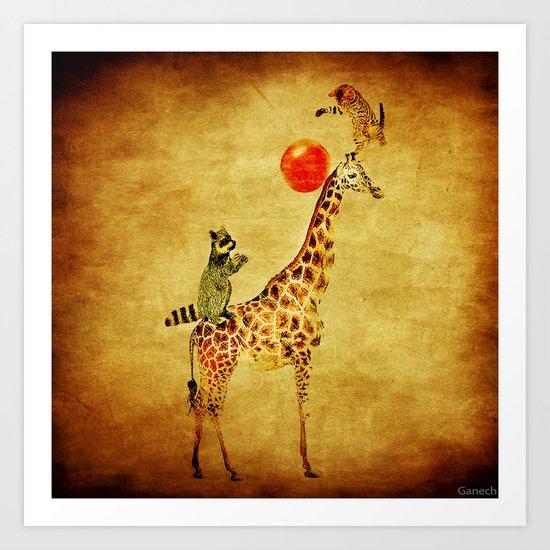 By playing on the giraffe Art Print
