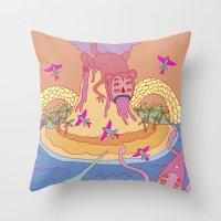 monkey island Throw Pillows featuring monkey by mleko