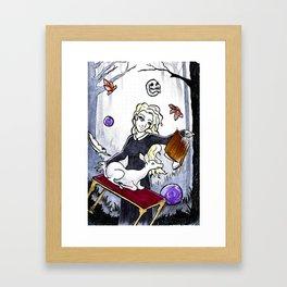Witch and her white deer familiar/spirit animal Framed Art Print