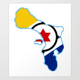 Bonaire Map with Flag Art Print