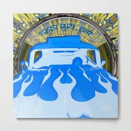 1955 Bel Air Blue Pop Art Metal Print