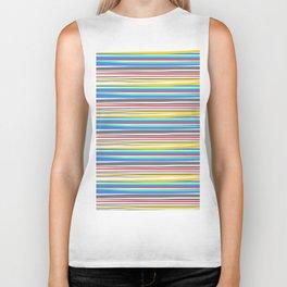 Thin Color Stripes - White Biker Tank