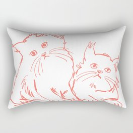 Katzen 001 / Minimal Line Drawing Of Two Cats Rectangular Pillow