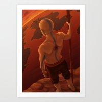 aang Art Prints featuring Aang by BBANDITT