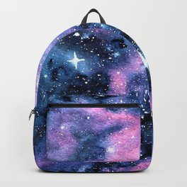 Twinkling Pink Watercolor Galaxy Backpack